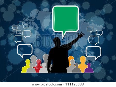 People with speech bubble. Social media illustration
