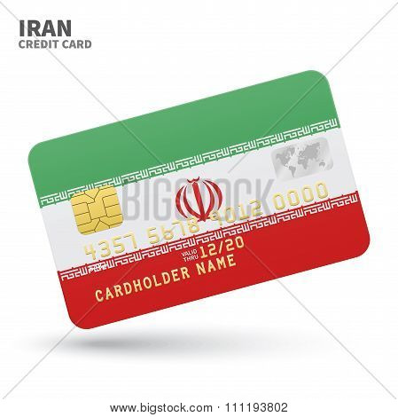 Credit card with Iran flag background for bank, presentations and business. Isolated on white