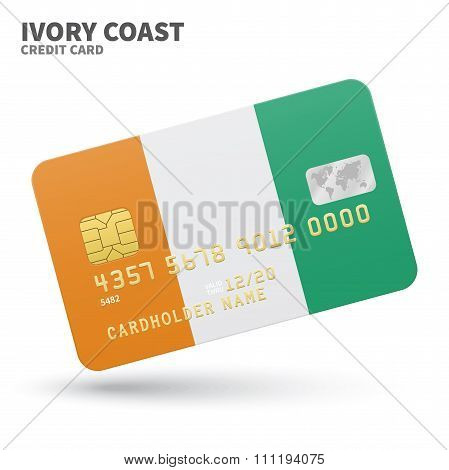 Credit card with Ivory Coast flag background for bank, presentations and business. Isolated on white
