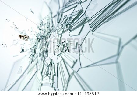 An image of a glass damaged by a bullet