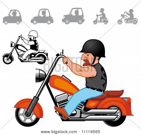 Cartoon Vehicles Series Chopper motorbike