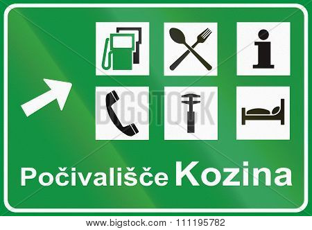 Slovenian Road Sign - Motorway Services Signboard, Pocivalisce Means Motorway Station