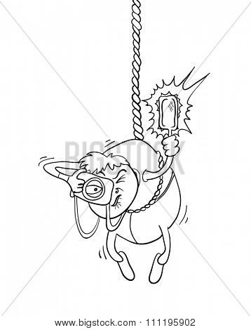 paparazzi photographer hanging on a rope, contour illustration