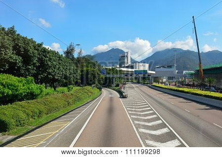 HONG KONG - JUNE 04, 2015: view of Cathay City. Cathay Pacific City or Cathay City is the headquarters of Cathay Pacific at Hong Kong International Airport