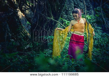 Ancient Thai Woman In Traditional Costume Of Thailand