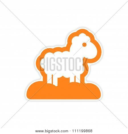 paper sticker on white background Christmas lamb