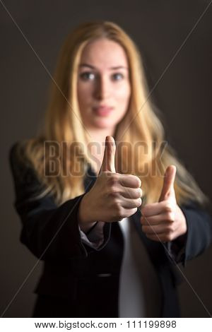 Caucasian Business Woman In Casual Suit Giving Thumb Up Gesture Over Gray Background.