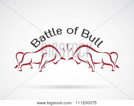 Vector Image Of A Bull Fight On White Background, Logo, Symbol