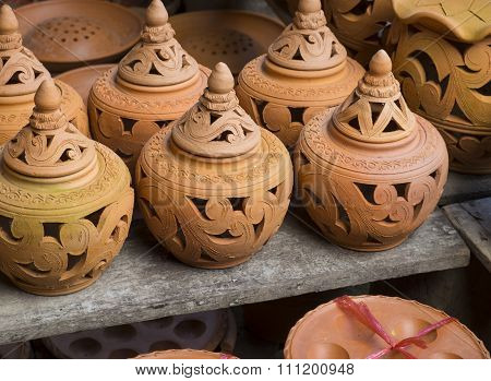 Earthenware brown handmade clay pots