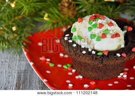 Christmas ice cream brownie