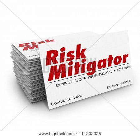 Risk Mitigator words on business cards for a professional or specialist helping you decrease danger or liability