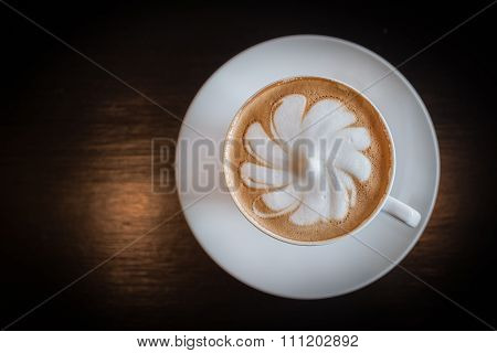 A Cup Of Hot Latte Art Coffee