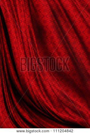 Wavy red satin background coated bright pattern