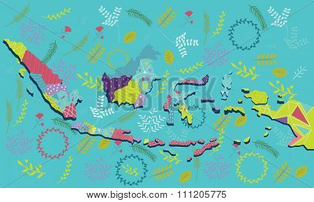 indonesia map vector illustration art pattern ornament ethnic batik