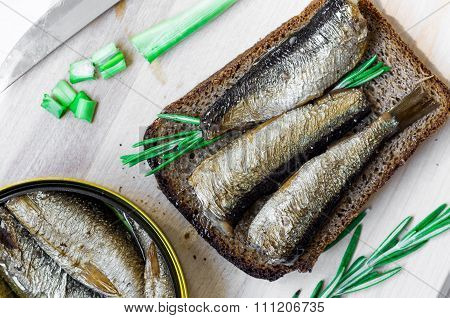 Sandwich With Sardines And Green Top View