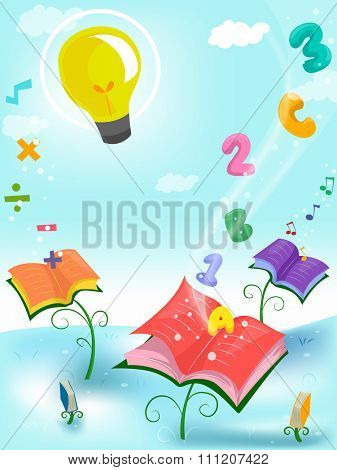 Whimsical Illustration of Books Surrounded by Letters and Numbers - eps10