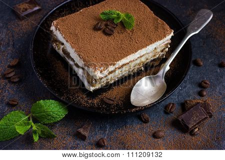 Traditional Italian Dessert Tiramisu On Blake Plate