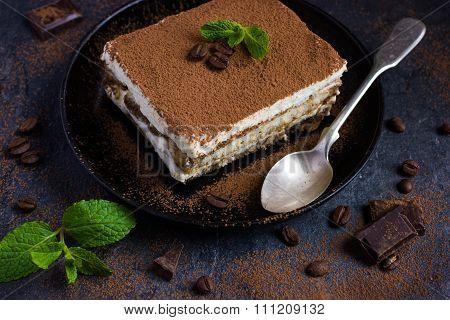 Traditional Italian Dessert Tiramisu On Blake Plate