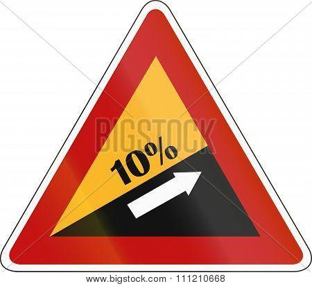 South Korea Road Sign - Steep Hill Upward