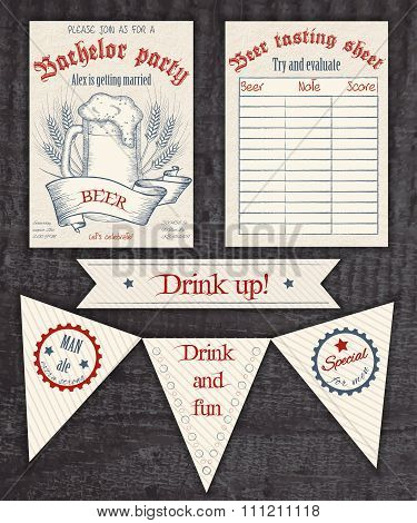 Vector Hand Drawn Vintage Invitation, Tasting Sheet, Banner And Flag For A Party With Beer Mug And