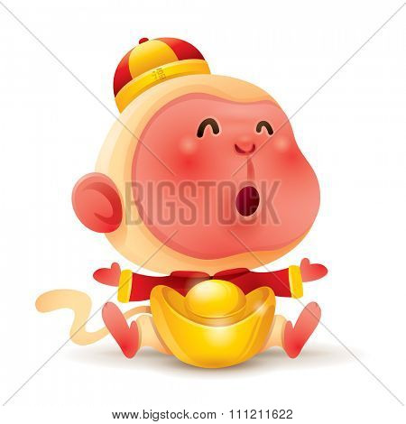 Chinese Zodiac - Monkey. Chinese New Year. Monkey with chinese gold.