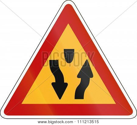 Korea Traffic Safety Sign - Attention - Median Start