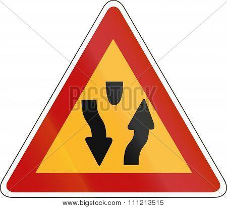 Korea Traffic Safety Sign - Attention - Median Start