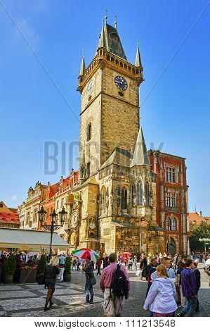 Prague,czech Republic- September 12, 2015:astronomical Clock(staromestske Namesti)on Historic Square