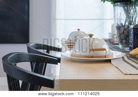 Table Set Onwooden Table And Black Chair