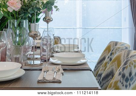 Table Set On Wooden Dinning Room With Chair