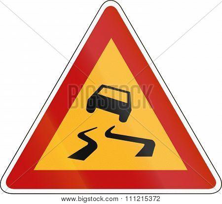 South Korean Road Warning Sign - Slip Danger