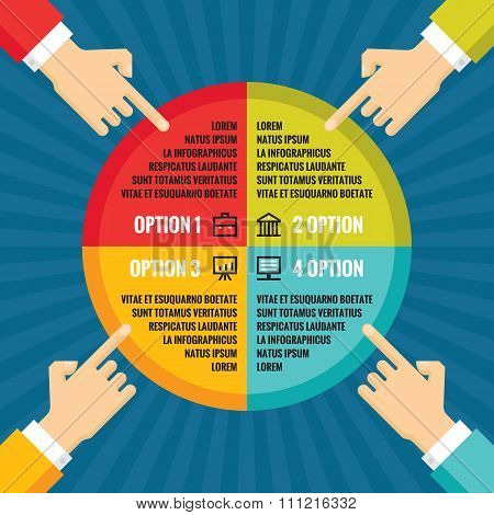 Human hands with colored circle - infographic business concept.