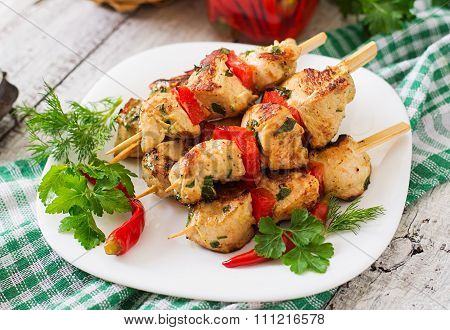 Chicken Shish Kebab With Paprika.