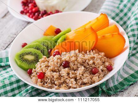 Porridge With Fresh Fruit And Cranberries. Healthy Breakfast. Proper Nutrition. Dietary Menu.