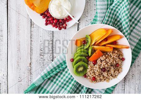 Porridge With Fresh Fruit And Cranberries. Healthy Breakfast. Proper Nutrition. Dietary Menu. Top Vi