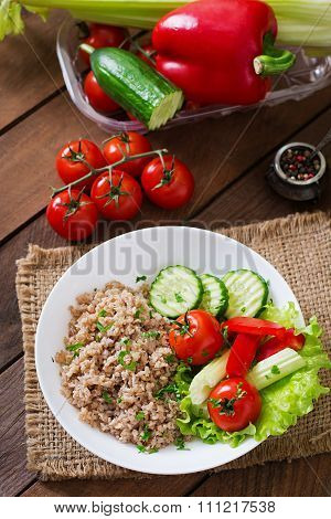 Porridge With Fresh Vegetables And Lettuce. Healthy Breakfast. Proper Nutrition. Dietary Menu.