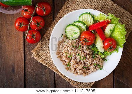 Porridge With Fresh Vegetables And Lettuce. Healthy Breakfast. Proper Nutrition. Dietary Menu. Top V