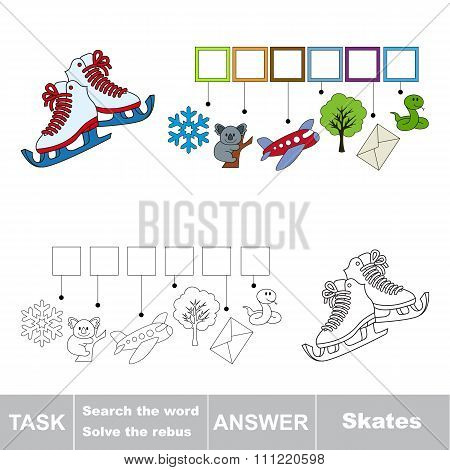 Vector game. Search the word. Find hidden word Skates