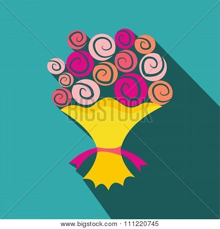 Bouquet of flowers flat icon