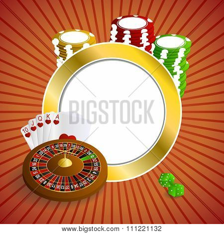 Background abstract red gold casino roulette cards chips craps frame circle illustration vector