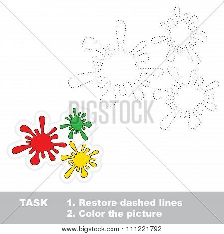 Coloful blots to be traced. Vector trace game.