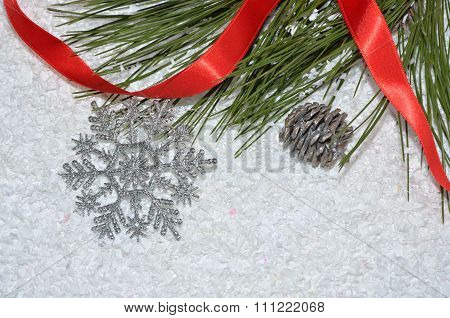 Ornaments On Artificial Snow