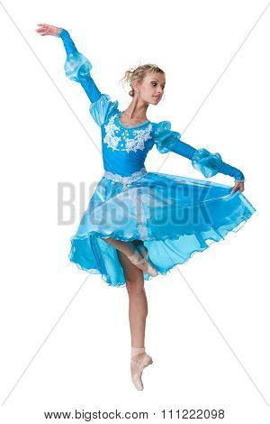 one caucasian young woman ballerina ballet dancer dancing on white background