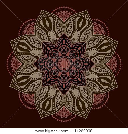 Decorative elements.Orient traditional ornament. Mandala. Oriental and ethnic art theme.