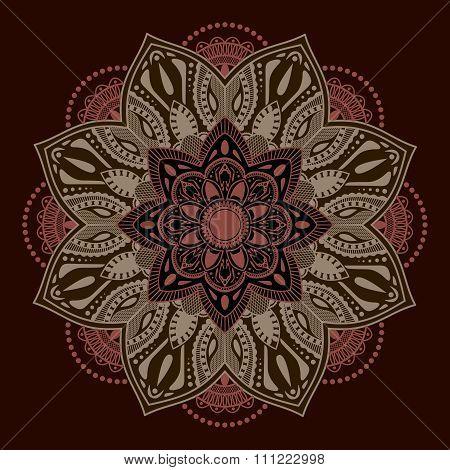 Decorative elements.Orient traditional ornament. Mandala. Oriental and ethnic art theme.