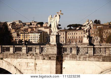 Sant Angelo Bridge, Over Tiber River In Rome, Italy