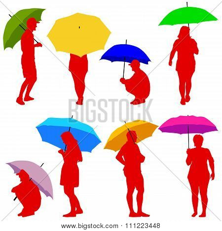 Silhouettes Man And Woman Under Umbrella. Vector Illustrations.