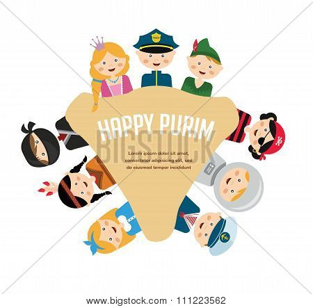 kids wearing different costumes.  happy purim in hebrew. jewish holiday