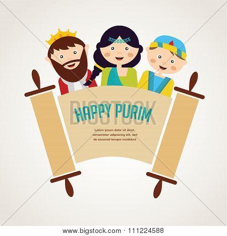 kids wearing costumes from Purim story. arranged around torah