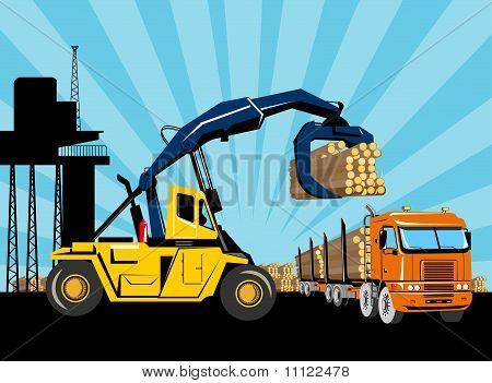 logging truck loaded logs forklift truck